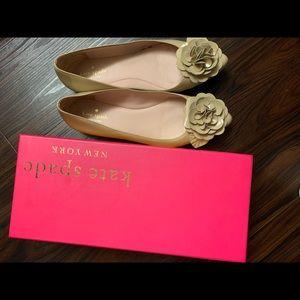 Kate Spade flower nude patent ballet flats